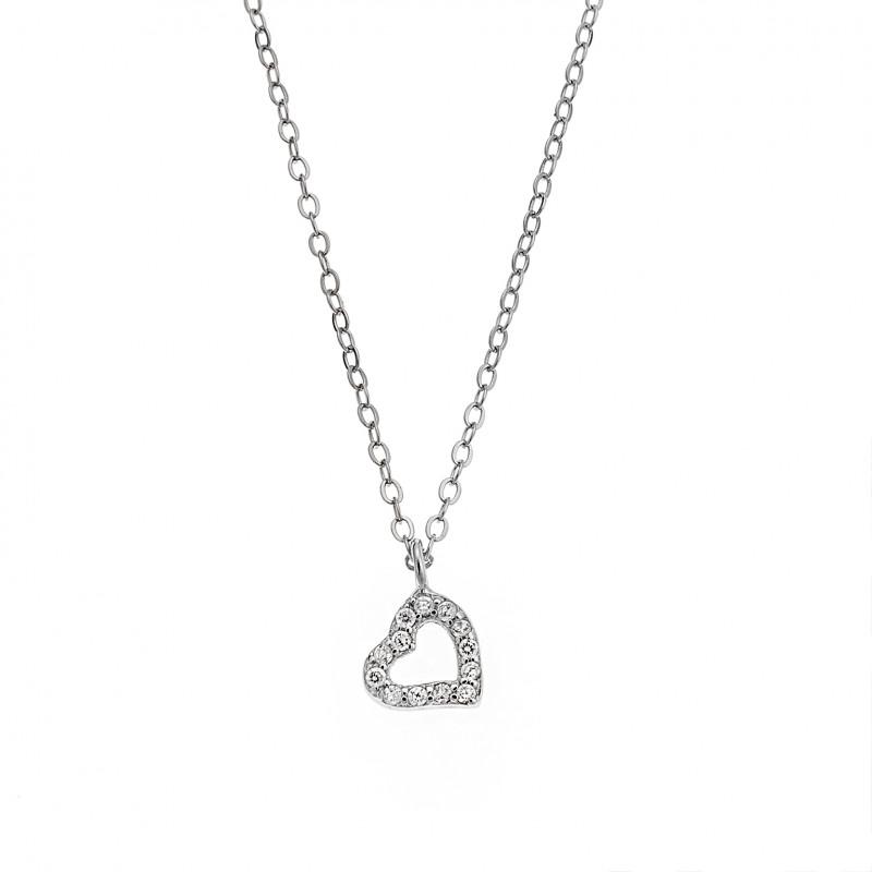 Κολιέ SENZA ασήμι 925, καρδιά με λευκά ζιργκόν - SSR2246SR