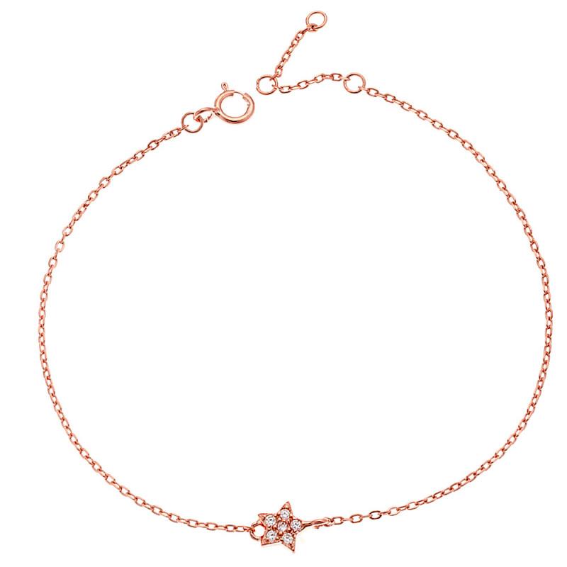 Βραχιόλι SENZA ροζ επιχρυσωμένο ασήμι 925, αστέρι με λευκά ζιργκόν - SSR2269RG