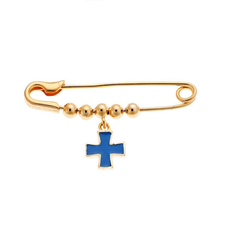 Παραμάνα SΕΝΖΑ κίτρινο επιχρυσωμένο ασήμι 925 με μπλε σταυρό - SSR2295GD
