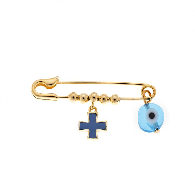 Παραμάνα SΕΝΖΑ κίτρινο επιχρυσωμένο ασήμι 925 με μπλε σταυρό και γαλάζιο ματάκι - SSR2295GDL
