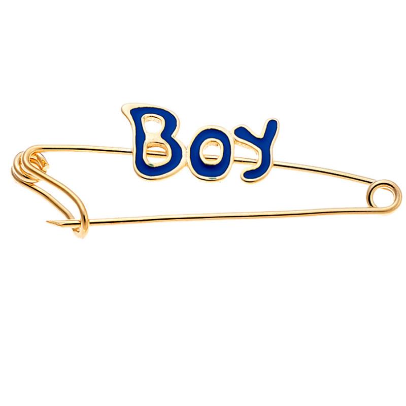 Παραμάνα SENZA κίτρινο επιχρυσωμένο ασήμι 925, Boy και μπλε ματάκι - SSR2301GB