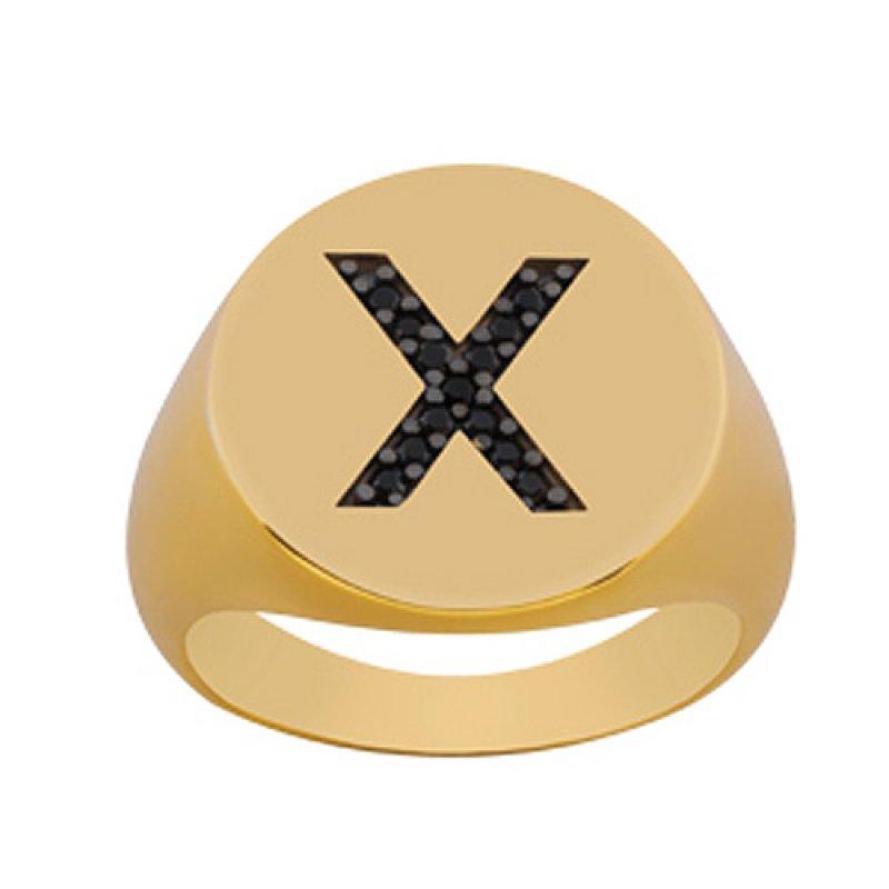 Δαχτυλίδι Chevalier Senza Από Ασήμι Επιχρυσωμένο Με Mαύρο Μονόγραμμα ZX02X ZX02X