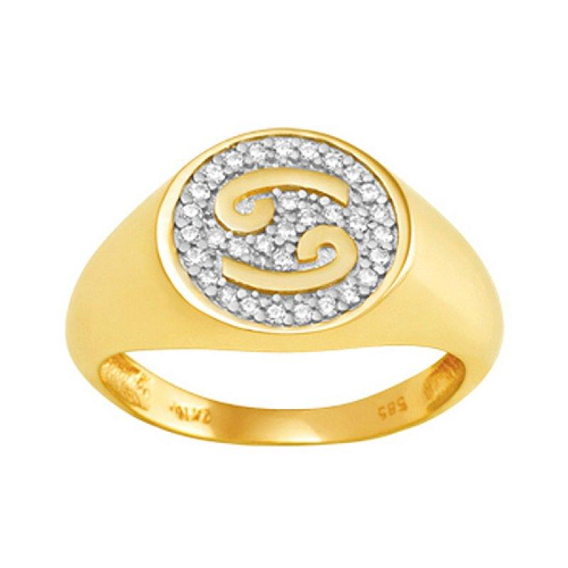 Δαχτυλίδι Chevalier Senza Από Ασήμι Επιχρυσωμένο\n Καρκίνος ZX6KA ZX6KA