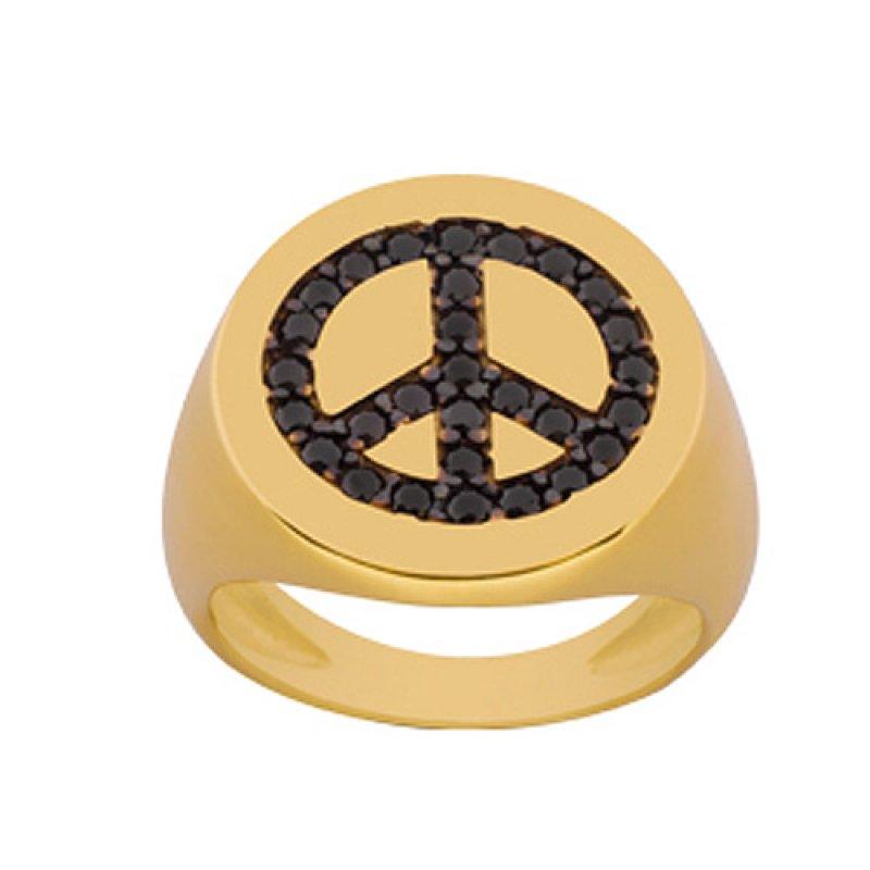 Δαχτυλίδι Chevalier Senza Από Ασήμι Επιχρυσωμένο Με Σήμα Της Ειρήνης ZX730