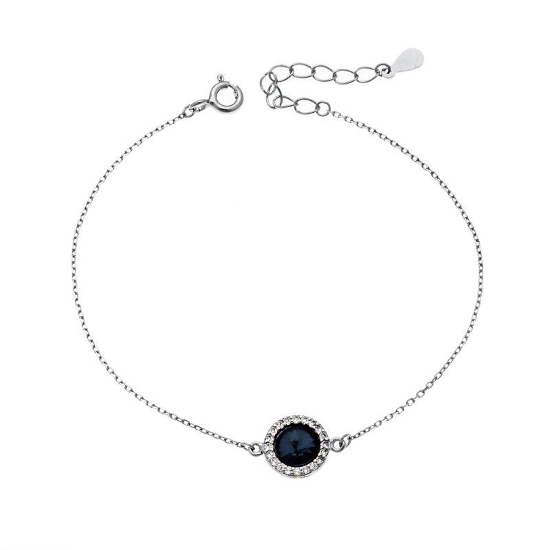 Βραχιόλι SENZA ασήμι 925 με μπλε κρυστάλλινη πέτρα και λευκά ζιργκόν - SSR2131BL