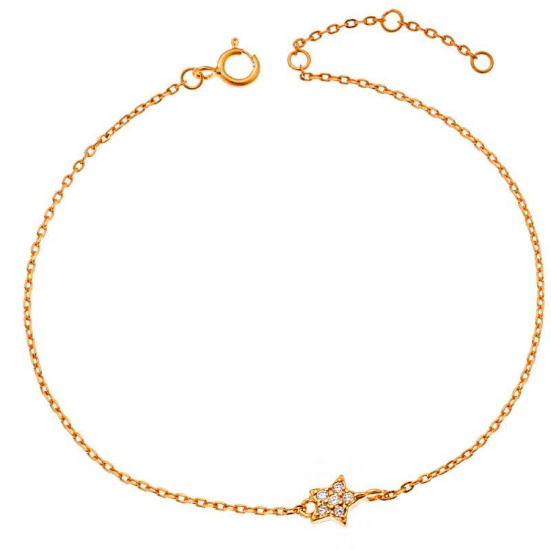 Βραχιόλι SENZA κίτρινο επιχρυσωμένο ασήμι 925, αστέρι με λευκά ζιργκόν - SSR2269GD