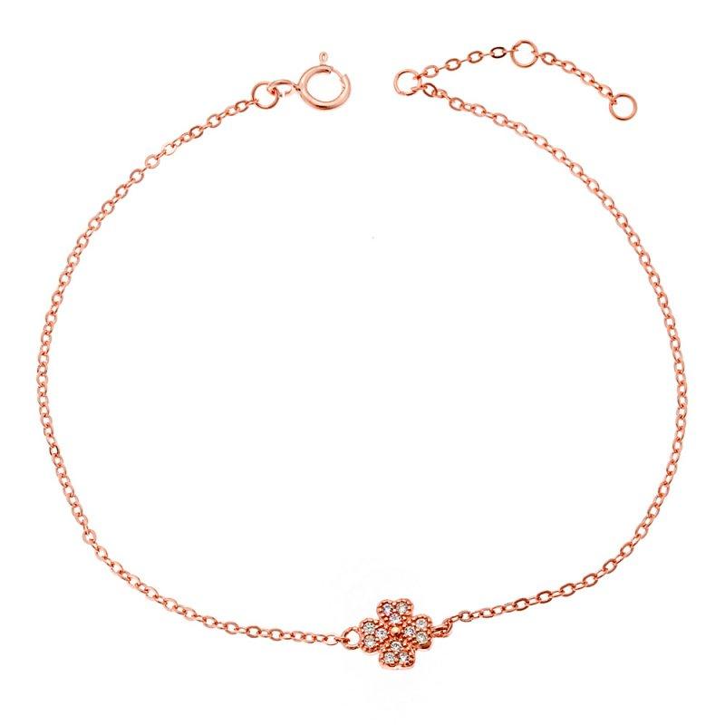 Βραχιόλι SENZA ροζ επιχρυσωμένο ασήμι 925, τετράφυλλο τριφύλλι με λευκά ζιργκόν - SSR2278RG