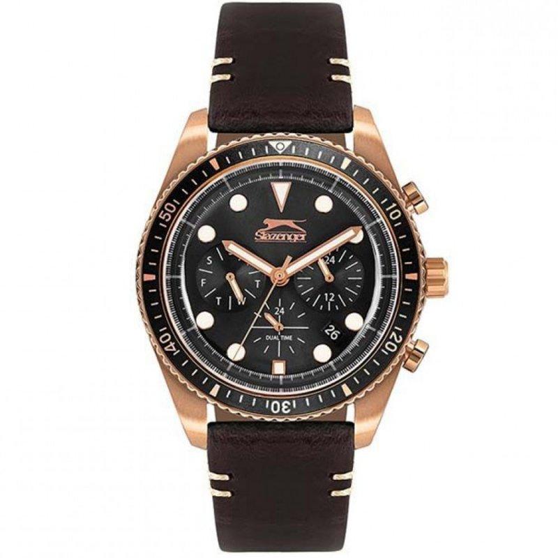 Ρολόι SLAZENGER Multifunction Rose Gold Brown Leather Strap - SL.09.6268.2.02