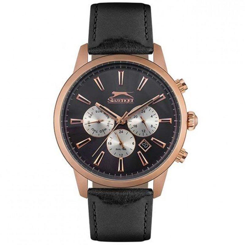 Ρολόι SLAZENGER Multifunction Rose Gold Black Leather Strap - SL.09.6271.2.01