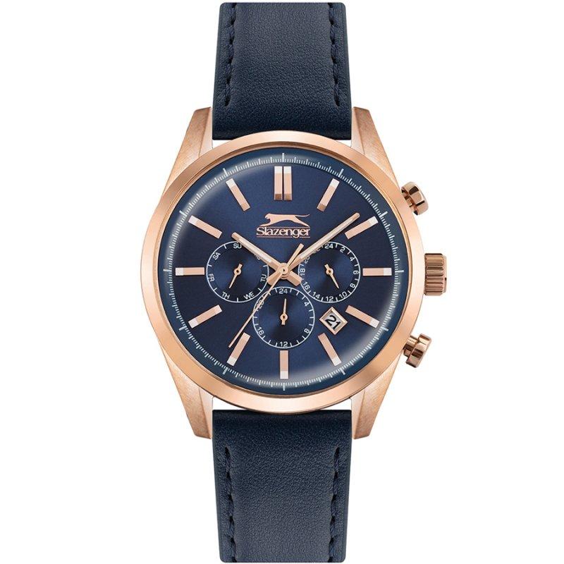Ρολόι SLAZENGER Multifunction Blue Leather Strap - SL.09.6317.2.02
