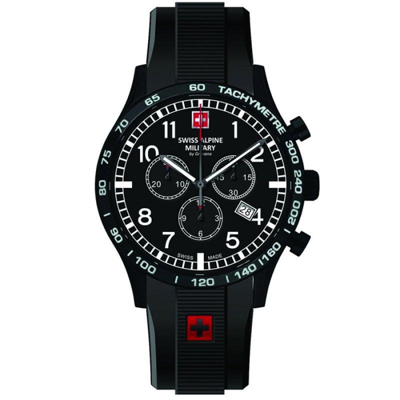 Ρολόι SWISS ALPINE MILITARY Black Rubber Chronograph - 1746.9877SAM