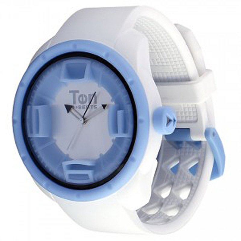 Ρολόι TEN BEATS Snow Light Blue Case White Dial and Rubber Strap - BF130205