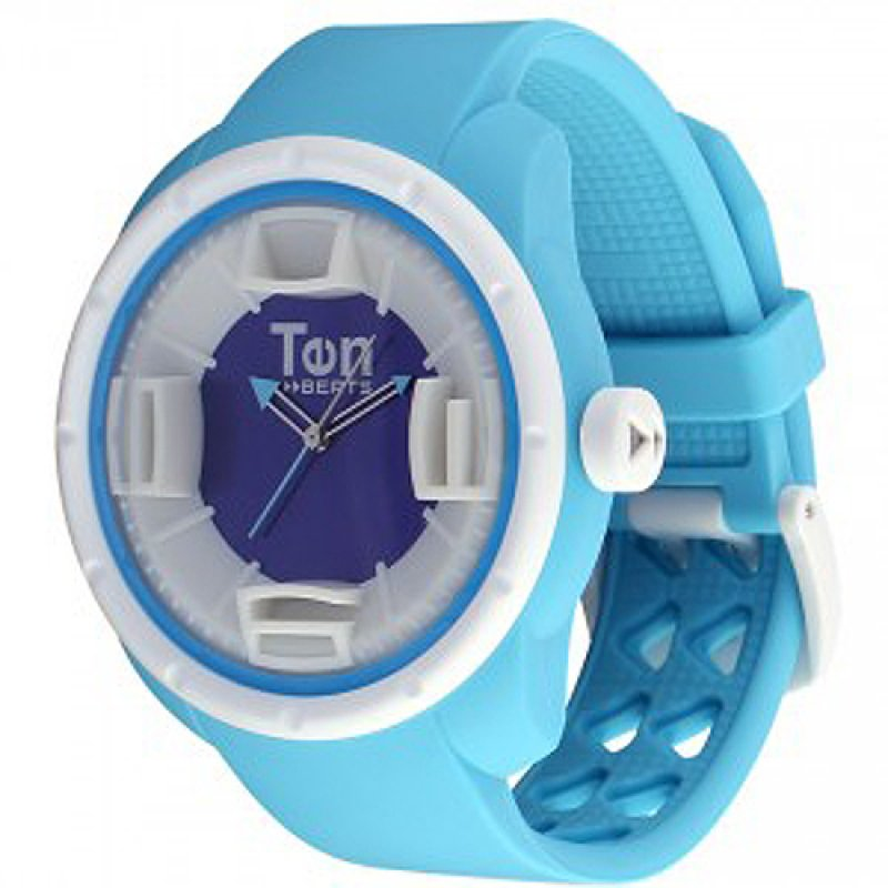 Ρολόι TEN BEATS Wave White Case Light Blue Dial and Rubber Strap - BF130210