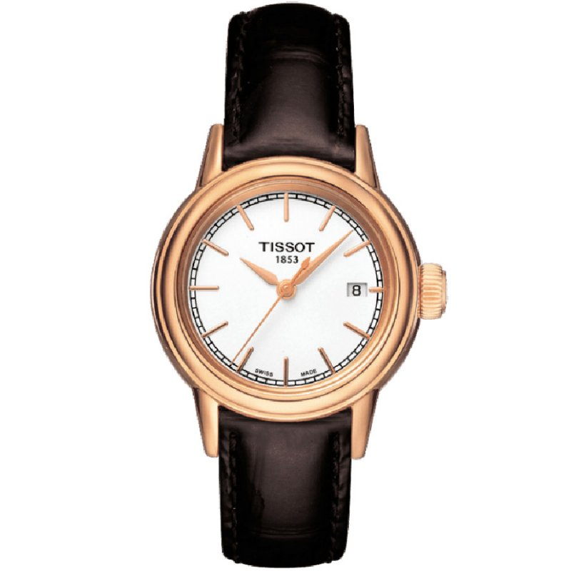 Ρολόι TISSOT Ladies T-Classic Carson Rose Gold Brown Leather Strap - T085.210.36.011.00