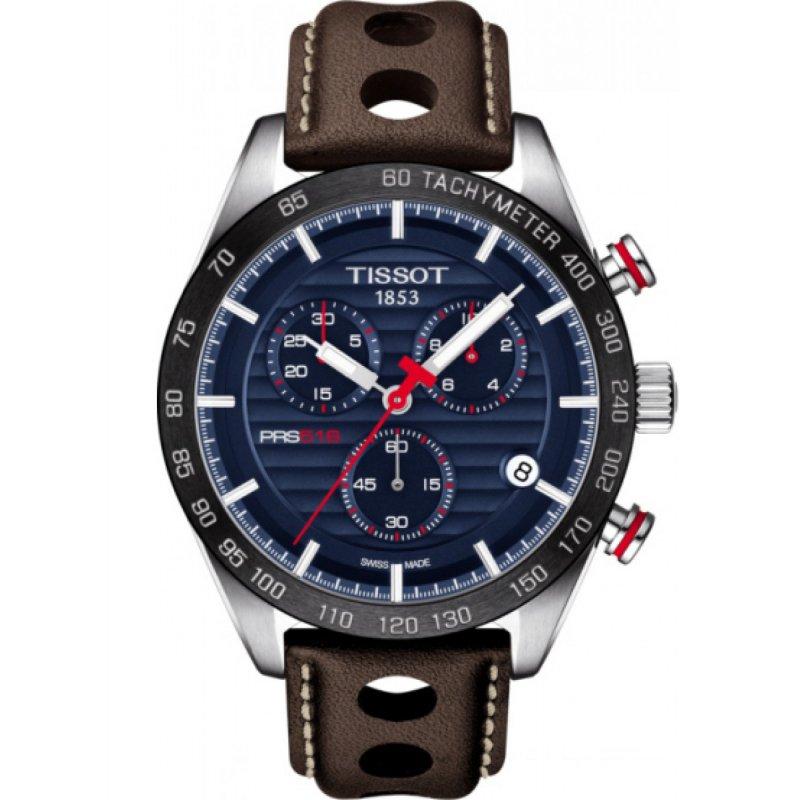 Ρολόι TISSOT PRS 516 Chronograph Brown Leather Strap - T100.417.16.041.00