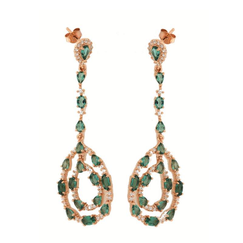 Σκουλαρίκια Verita True Luxury Aπό Ασήμι Rose Gold-Πράσινο - 10322625